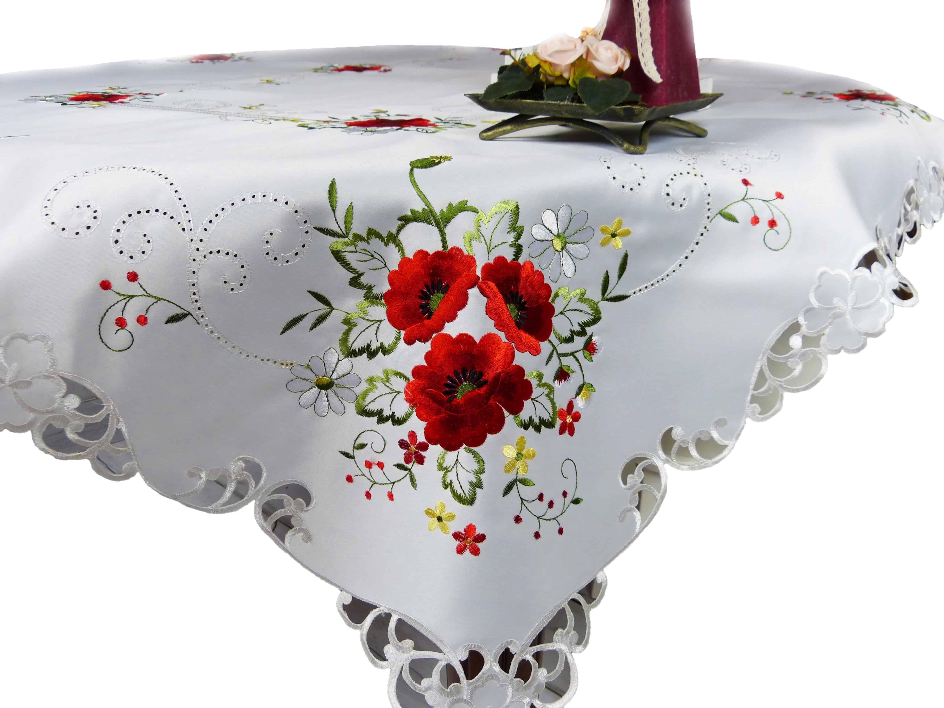 Obrus Haftowany 150x220 Biały Czerwone Maki